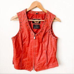 Harley Davidson Leather Embossed Distressed Vest
